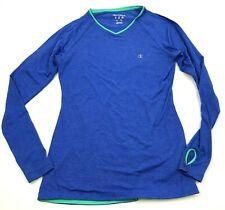 CHAMPION Shirt Women's Size Medium M Blue Tee Long Sleeve Thumbholes Striped