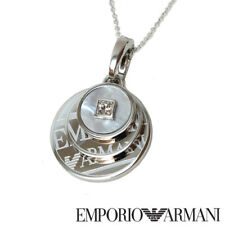 NEW EMPORIO ARMANI SILVER,2 SIDED ROUND 3 MOP CHARMS CHAIN NECKLACE-EGS1334