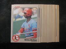 ST. LOUIS CARDINALS ~ 1983 Fleer Baseball 25-Card Team Set ~ Willie McGee Rookie