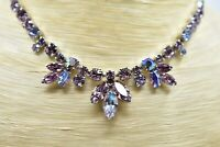 Vintage Weiss Signed Collar Necklace Rhinestone Crystal Purple AB Sparkle BinE