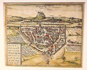 """WÜRZBURG (""""Herbipolis), Holzschnitt von 1548 - aus der Cosmographia universalis"""