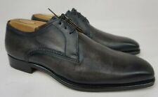 Magnanni Leon Plain Toe Derby Grey Leather Shoes Oxfords Men's Size 7.5 M