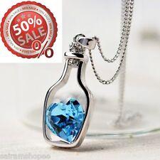 Women Valentine birthday gift Love Drift Bottle Pendant sapphire heart Necklace