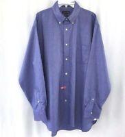 Lands End Mens Dress Shirt Sz 16.5  34 Cotton NO IRON Blue Oxford LS Career