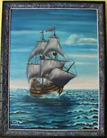 Oil painting on canvas, seascape, Sailing ship, Signed, Unique  Frame, Dated