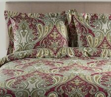 Paisley Duvet Set Full / Queen Size Burgundy 3 Pc 100 % Cotton Bed Cover Shams