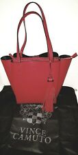 Vince Camuto Nylan Bonded Small Cherry Red Leather Handbag Tote New/W/Tags $248