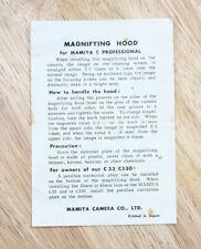 MAMIYA C MAGNIFYING HOOD INSTRUCTIONS/131305