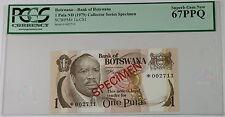(1979) Botswana 1 Pula Specimen Note SCWPM# 1a-CS1 PCGS 67 PPQ Superb Gem New