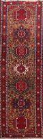 Vegetable Dye Semi Antique Gharajeh Geometric Runner Rug Handmade Oriental 3x11