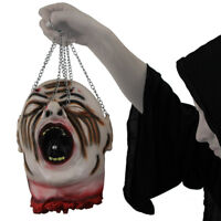 HANGING SEVERED HEAD LIFE SIZE SCREAMER HEAD HALLOWEEN PROP JOKE GORY DECORATION