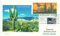 SAGUARO NATIONAL PARK  Tucson, Arizona National Parks Color Photo Handstamped PC