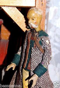 Antique Male Wax Head Creche Religious Figure Nativity Dollhouse AD #5221089