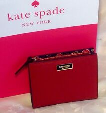 KATE SPADE LAUREL WAY HAZY ROSE SMALL SHAWN ROOSTER RED WALLET CLUTCH COIN PURSE