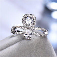 Fashion White Gold Filled White Sapphire CZ Cross Rings Wedding Bridal Jewelry