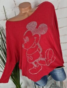 NEU ITALY WEICHER PULLOVER PONCHO FLEDERMAUS ANGORA MICKEY MOUSE ROT 36-42