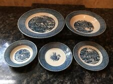 ROYAL china setting Currier & Ives Early WInter (plates and bowls) (D127P4.14)