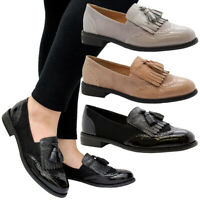 Ladies Women Slip On Brogue Tassel Fringe Loafers School Office Pumps Shoes Size