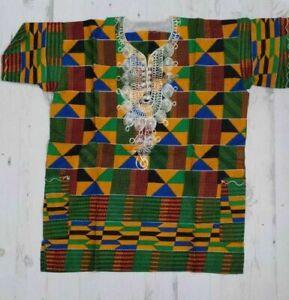 Authentic Kenyan Unisex Dashiki One Size W/Pockets 100% Cotton African Top NEW