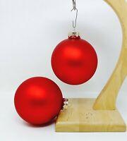 "2 Matte Red X-Large Jumbo X-mas Ornaments Approximately 3.75""- 4"" Diameter"
