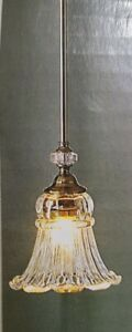 New Allen & Roth Mini Polished Pewter Pendant Light Fixture Glass Colfax