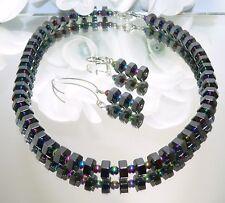 2er-SCHMUCK SET  Ohrringe Hämatit schwarz Oktagon multicolor irisierend 066r