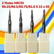 4Pc 0.25-1mm Carbide Tapered End Mill Ball Nose 2 Flute Cutting Tool Length 15mm