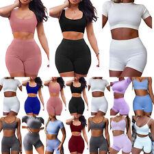 Womens Sport Tracksuit Set Top Vest Bra Shorts Summer Running Workout Loungewear
