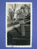 OP10 Vintage PHOTO original B&W pre-1940 Military man bugle boy trumpet 1935