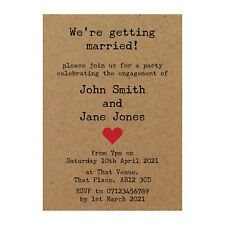 Pack of 50 Recycled Brown Kraft Rustic Typewriter Engagement Party Invites