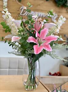 Artificial Flower Arrangement, Pink Tiger Lily, Delphinium, Calla Lily, Vase