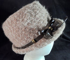 """Vintage 1960's Yves St Laurent Tan Wool Fedora Style Hat -- 21 1/4"""" -- Exc Cond!"""