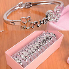 CH Women Crystal Charm Jewelry Love Heart Bangle Silver Plated Bracelet Gift