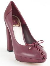 New  Dior Pushkin Lace-Up Bordo Leather Pumps Size 41.5 US 11.5