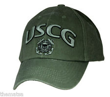 USCG COAST GUARD OD GREEN STAR LOGO 3-D MILITARY HAT CAP