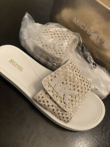 Michael Kors Summer Slides Mini MK Logo Adjustable Velco sandal NeWB 8M Vanilla