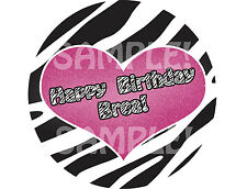PINK ZEBRA HEART Edible Cake Topper Image Round Frosting Sheet PERSONALIZED!