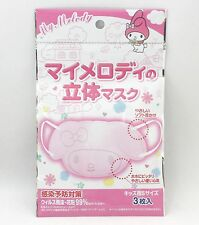 My Melody Face Die-cut Anti-Dust Flu Mouth Mask 3sheets for Kids Sanrio Kawaii