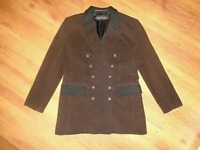 LOUIS FERAUD DARK BROWN CASHMERE BLEND TWEED DOUBLE BREASTED BLAZER-XL,16-UK