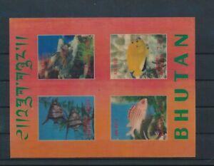 LO29816 Bhutan fish shell coral sealife imperf sheet MNH