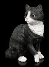 Katzen Figur - Sitzend schwarz-weiß - niedliches Kätzchen Deko Geschenk