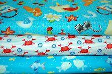 Henry Glass 'Celebrate Summer' Fish/Crabs/Beach/Seaside Cotton Fabric FQ/M (4FQ)