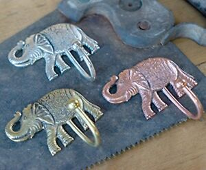 Elephant metal single hook in silver, brass or rose gold, handmade in India-NEW