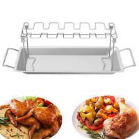 Stainless Steel Chicken Wing Leg Rack Grill Holder Pan for Cooking Garden Party