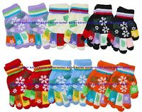 Kids Children Magic Gloves Multi Colors Snow Snowflake Winter Xmas 12 Pairs NY