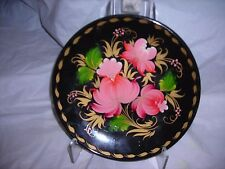 Tole wooden plate, hand painted florals