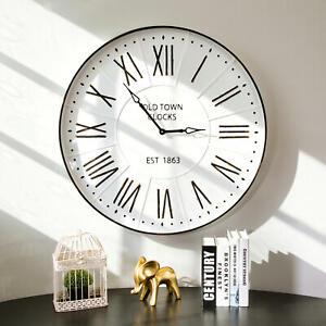 Glitzhome 31.5 in. Oversized Farmhouse Metal Enamel Wall Clock