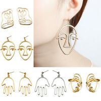 Gold Abstract Human Face Earrings Women Vintage Hollow Dangle Ear Stud Jewelry