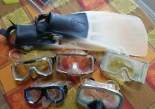 5 Swim Masks PANO GEO Netex U.S.DIVERS Dolfino WITH COMPRO FINS Pre-Owned