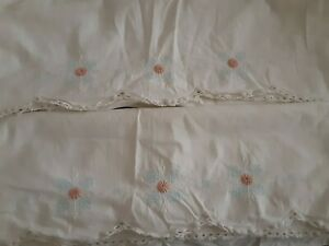 Vintage embroidered pillowcases pair